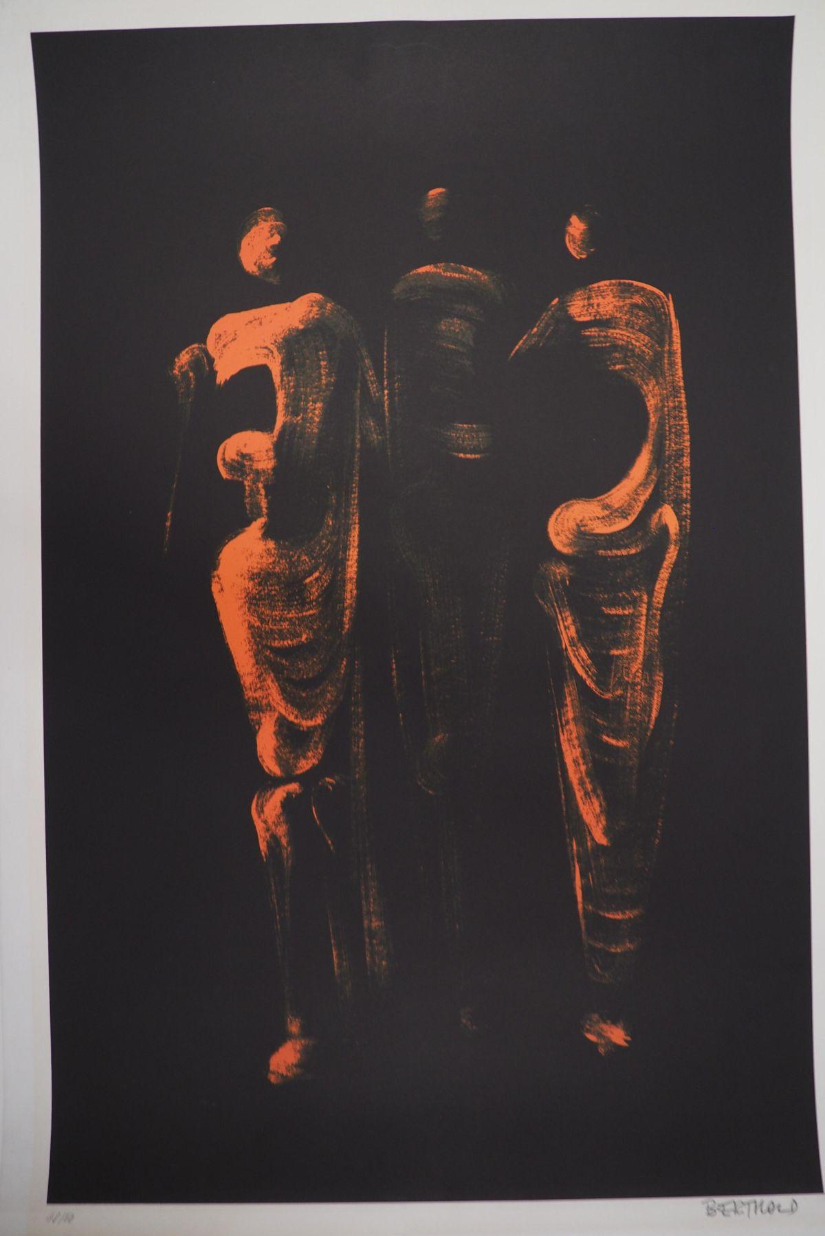 Joachim Berthold - Berthold, Lithographie, 3 Figuren in rot, signiert, nummeriert kopen? Bied vanaf 90!