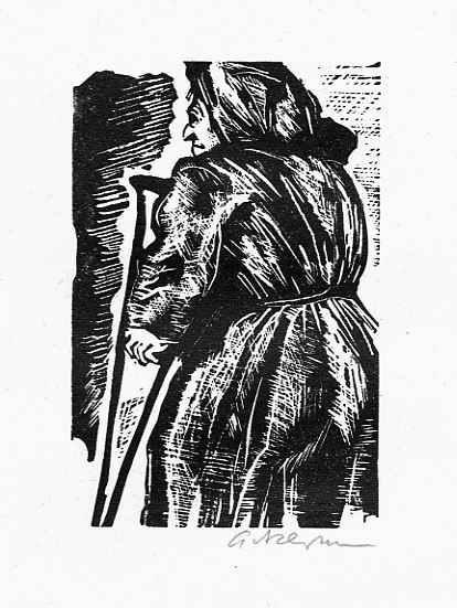 Helmut Ackermann - BETTELWEIB - OriginalLinolschnitt des Schülers von Hermann KASPAR & Richard SEEWALD - signiert 1980 kopen? Bied vanaf 28!