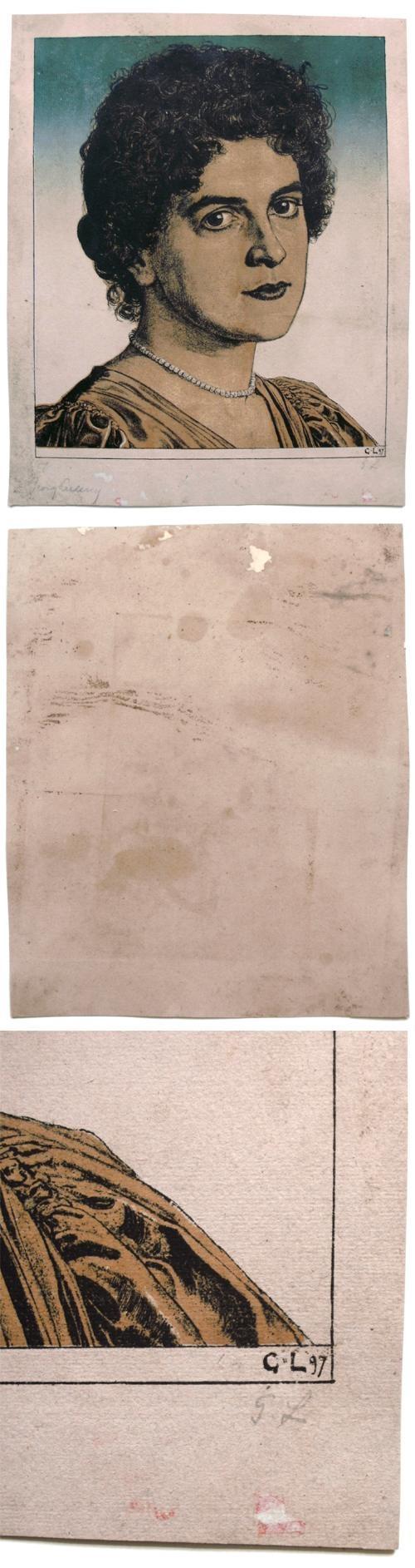 Georg Löhrig - Bildnis der Frau des Künstlers. Farblithographie, 1897. kopen? Bied vanaf 300!