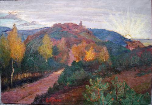 Ernst Pfau - Blick über den Pfälzer Wald mit Ruine Limburg, Hintergrund: Sonnenaufgang über dem Rheintal Ölgem. kopen? Bied vanaf 1200!