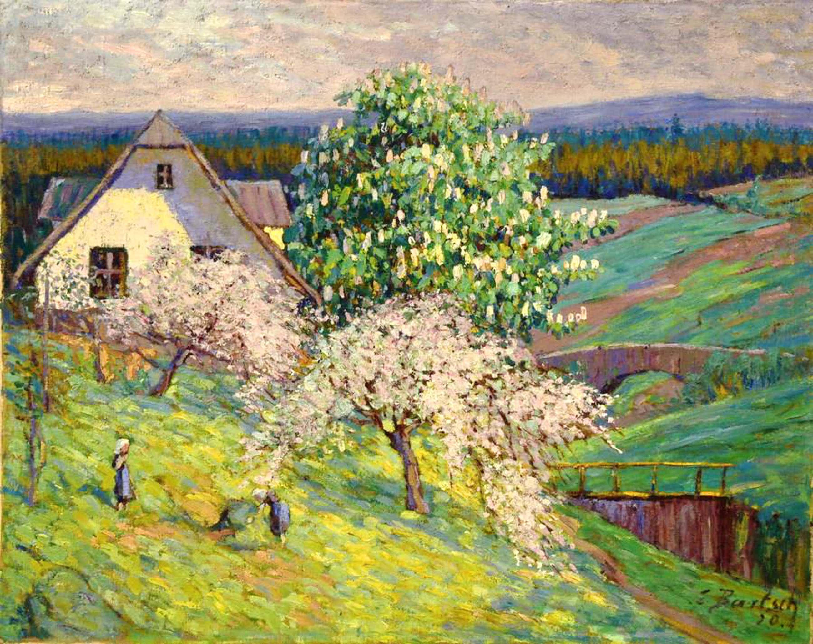 Ernst Bartsch - Blühende Apfelbäume, 1920 kopen? Bied vanaf 550!