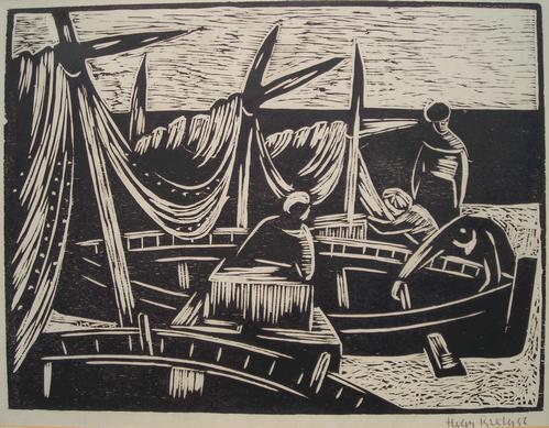 Herbert Breiter - Boote, Holzschnitt von 1956 des Peiffer-Watenphul Schülers kopen? Bied vanaf 160!