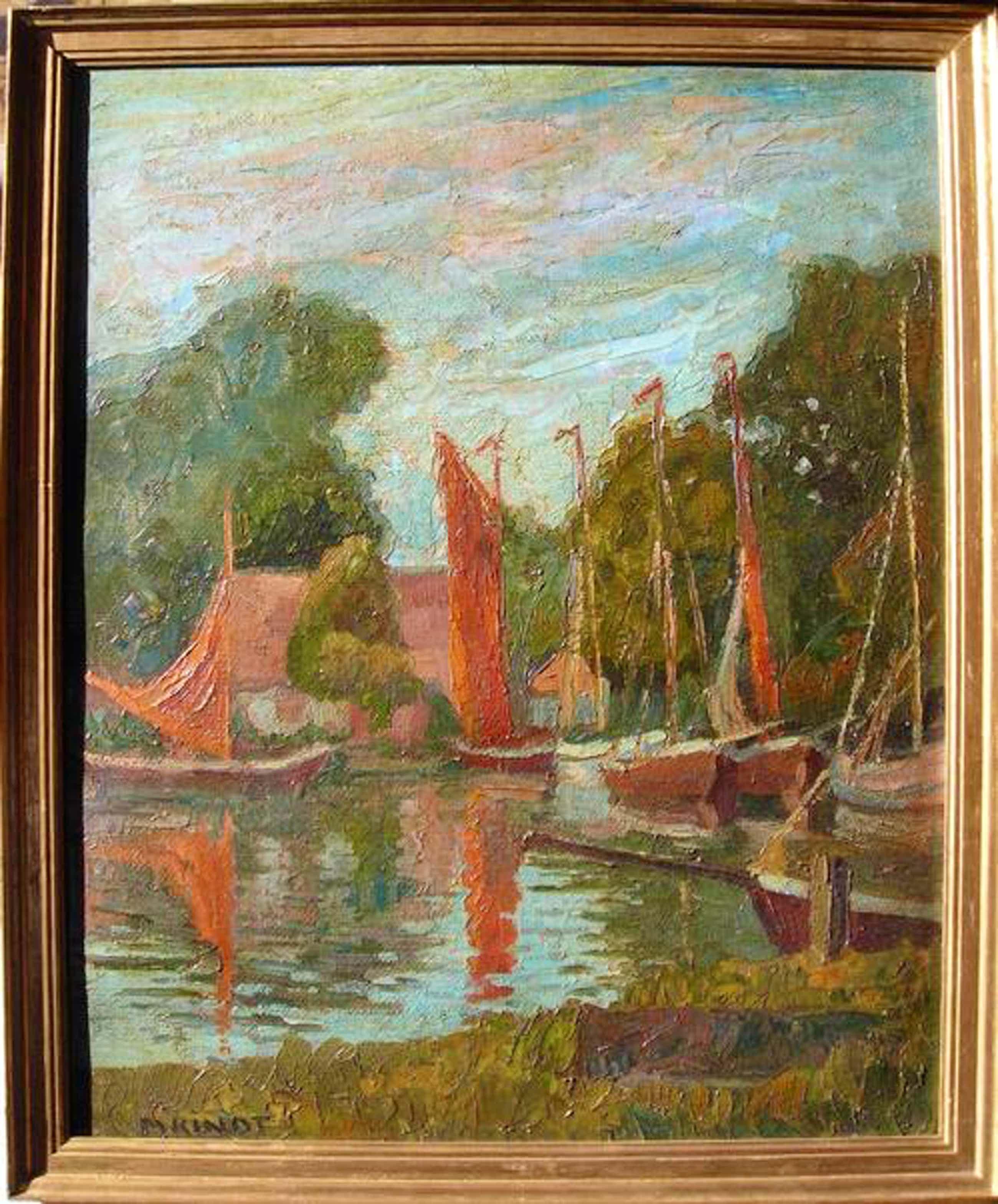 Max Kindt - Boote mit roten Segeln auf einem See in der Region Berlin, Ölgemälde kopen? Bied vanaf 380!