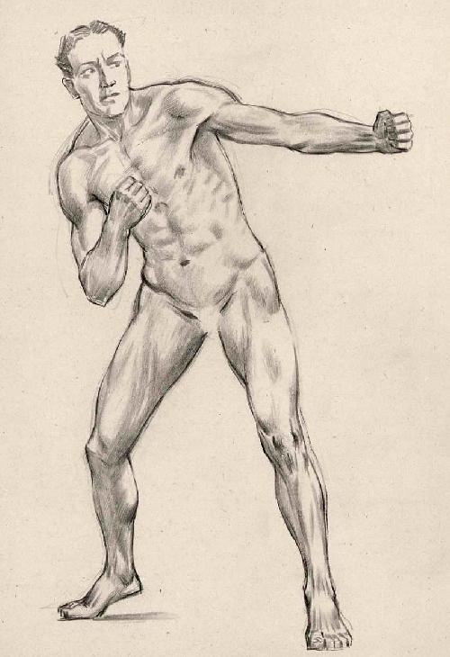 Kurt Opitz - BOXER-STUDIE - Original BleistiftZeichnung des LEIPZIGer Künstlers um 1930 (Nachlaßstempel) kopen? Bied vanaf 85!