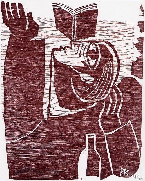 Paul Reding - BUCH-EQUILIBRIST 1976 - handsignierter OriginalHolzschnitt d.Olaf HEMKER-Vertonten ausCASTROP-RAUXEL kopen? Bied vanaf 45!