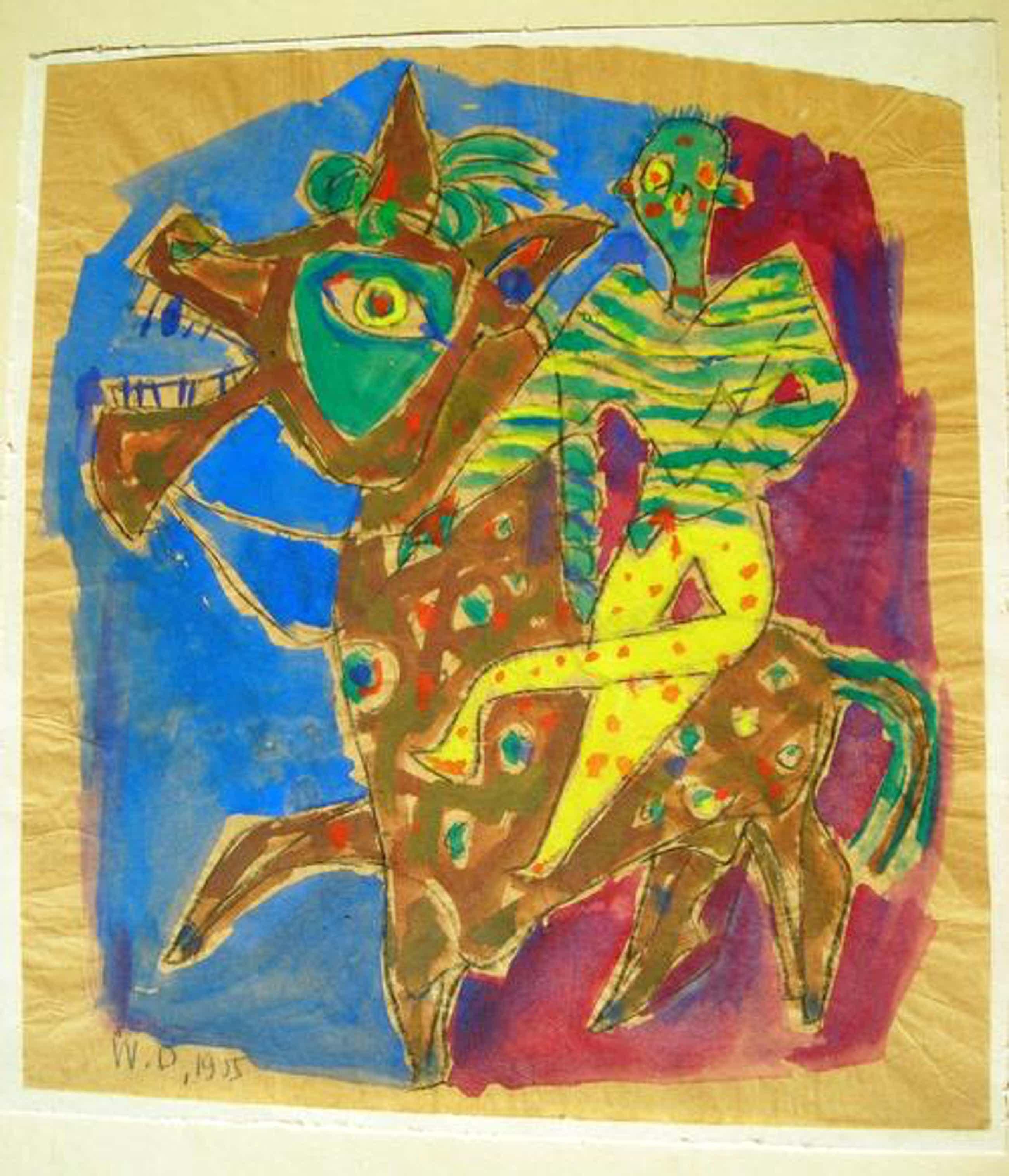 Willi Deutzmann - Clown auf geschmücktem Pferd, Tempera von 1955, monogrammiert kopen? Bied vanaf 360!