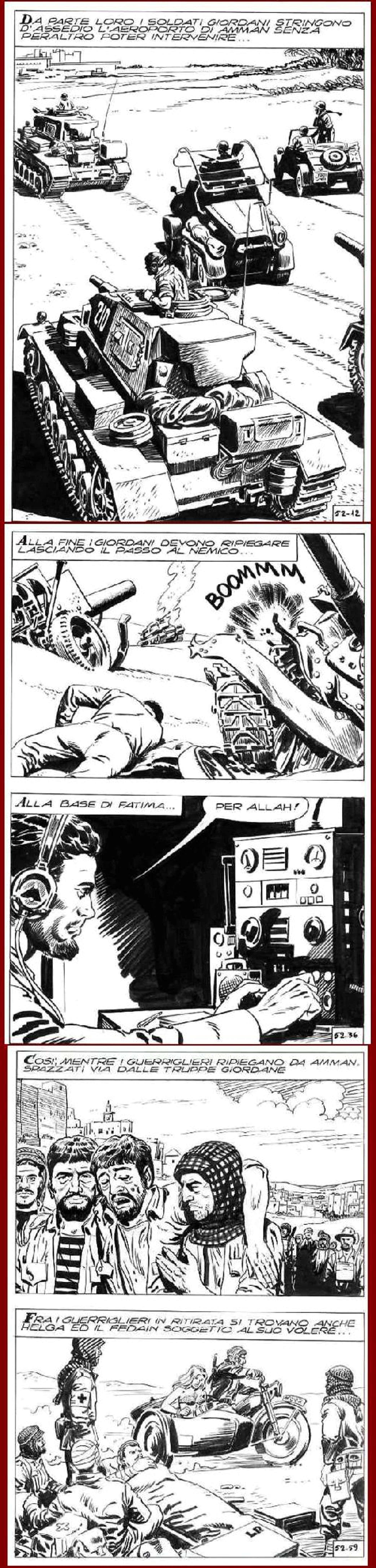 Sergio Tuis - COMIC-ART : PANZER ALLAH EXPLOSIONEN- 6 OriginalFederzeichnungen des berühmten VENEZIAners - um 1970 kopen? Bied vanaf 65!