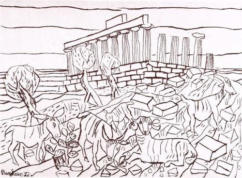 Eduard Bargheer - Concordia-Tempel, Agrigent, Radierung 1972 kopen? Bied vanaf 320!