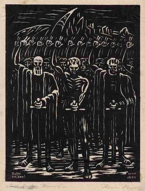 Heini Waser - - DABEI BLEIBEN - OriginalHolzschnitt des SCHWEIZER Künstlers aus 1944 handsigniert kopen? Bied vanaf 65!