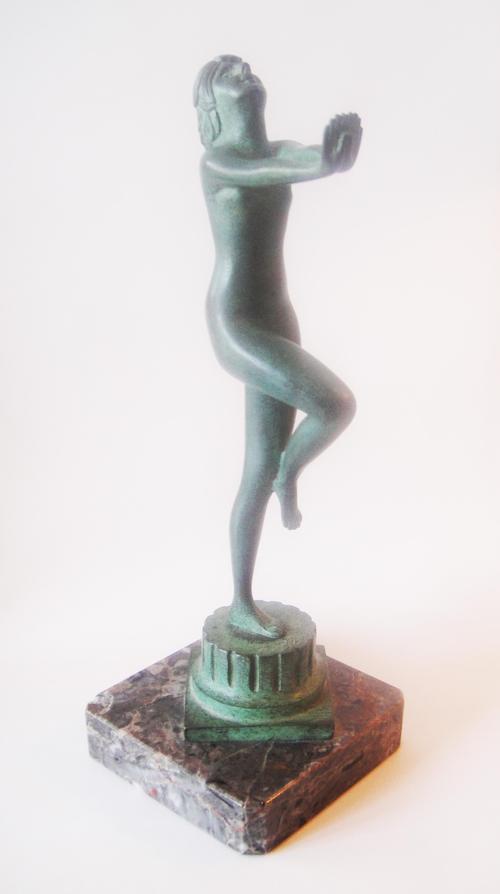 Sergei Zelikson - Danseuse nue - Tanzender Akt. Originale signierte Bronzeskulptur, Jugendstil / 20er Jahren. kopen? Bied vanaf 790!