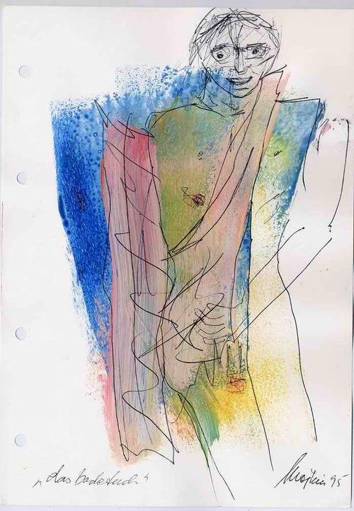 Mojkin Prigge - Das BADETUCH - 1995 - Handsignierte Acryl-&Federzeichnung der HESSIN aus BREMEN (BERLIN & FLORENZ) kopen? Bied vanaf 48!