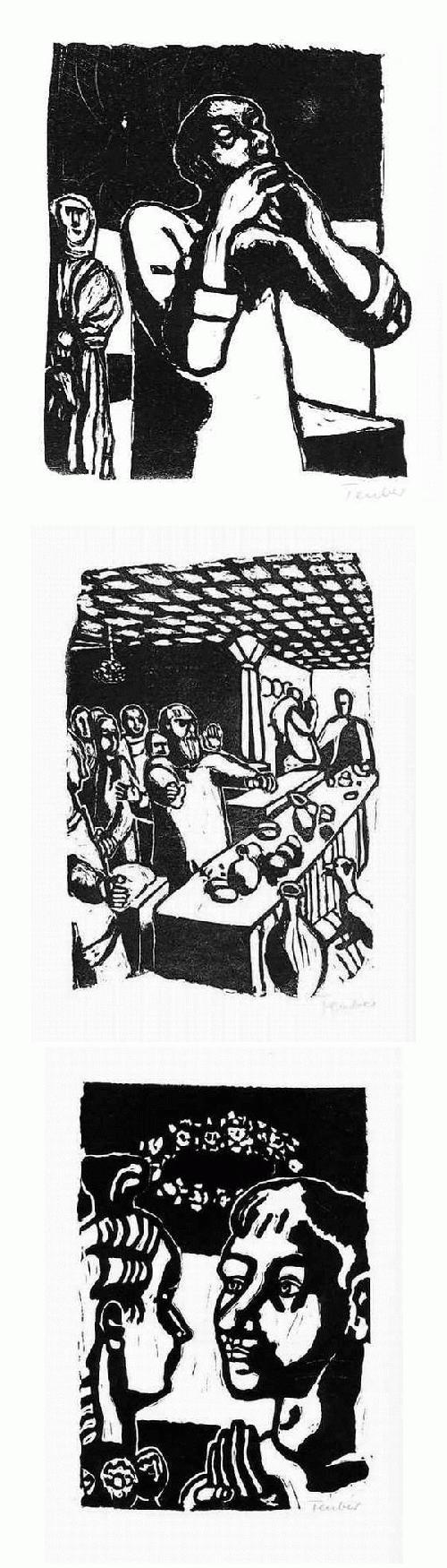 Gottfried Teuber - Das BUCH TOBIAS - 3 handsignierte OriginalLinolschnitte des RICHARD SEEWALD-Schülers - 1965 kopen? Bied vanaf 65!
