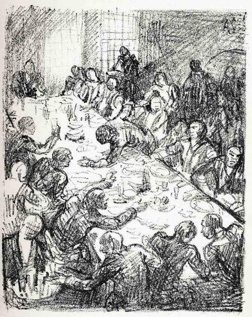 Adolf Schinnerer - Das GASTMAHL - OriginalLithographie des GRÜNDER der NEUE SEZESSION MÜNCHEN (Im Stein monogram.) kopen? Bied vanaf 32!