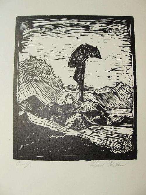 Kurt Ritter - Das Kreuz am Weg. Balder-Presse. Handsignierter Holzschnitt von 1929 kopen? Bied vanaf 25!