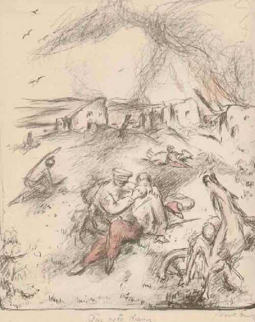 Willi Nowak - Das ROTE KREUZ - Handsignierte und Colorierte OriginalLithographie d.SVABINSKY-Schülers a.PRAG 1915 kopen? Bied vanaf 75!