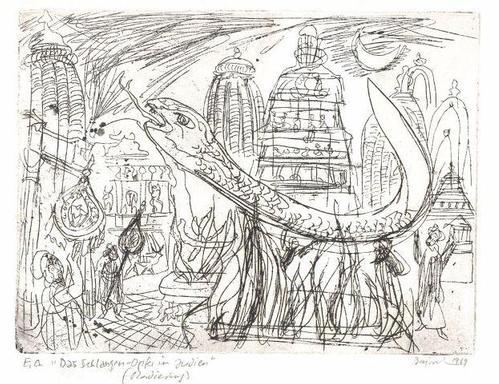 Archibald Bajorat - Das Schlangenopfer - zur indischen Sage - Radierung - 1969 kopen? Bied vanaf 70!