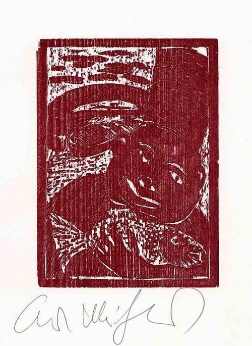 Kurt Muhlenhaupt - Der FISCH & sein KOCH - 1978 - HANDSIGNIERTER OriginalHolzschnitt des BERLINer MALERPOETEN kopen? Bied vanaf 75!
