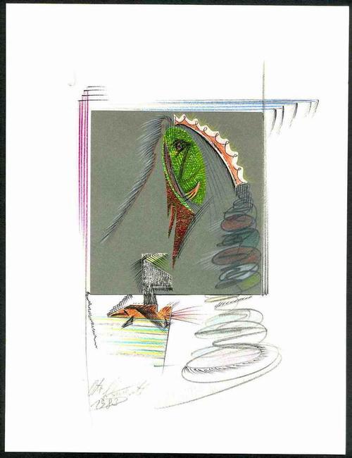 Otto Schwertl - Der FLASCHENGEIST - OriginalZeichnung & Collage 1983 Handsigniert (MÜNCHEN) kopen? Bied vanaf 85!