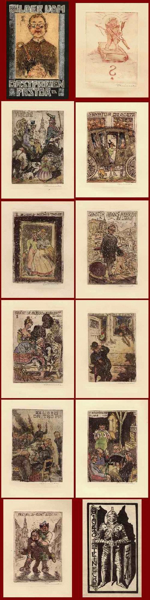 Walter Steinecke - Der GASTFREIE PASTOR 11 handsignierte aquarellierte OriginalRadierungen als SENATOREN-ExLibris 1950 kopen? Bied vanaf 330!