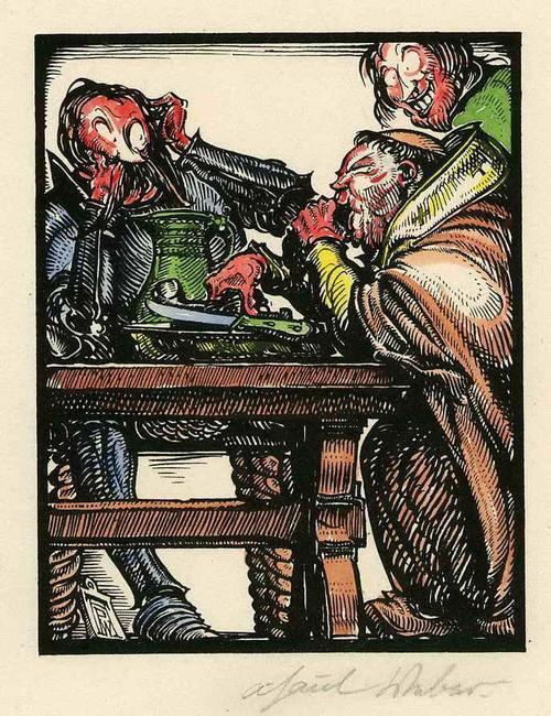 A. Paul Weber - Der GEFRÄSSIGE MÖNCH - - Handsignierter & colorierter OriginalManuldruck zu den FASTNACHTSPIELEN kopen? Bied vanaf 75!