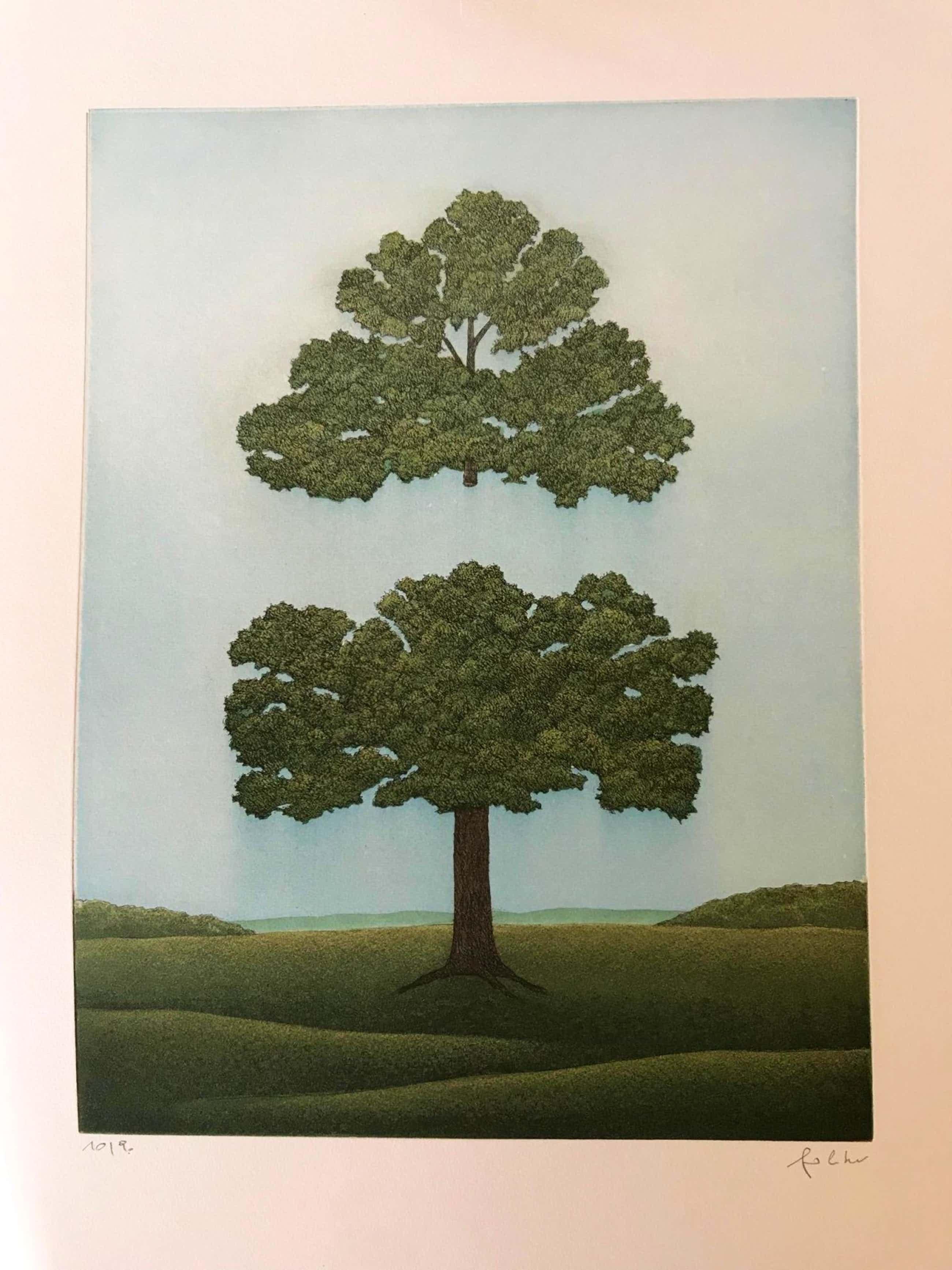 Franz Politzer - Der geteilte Baum, Farbradierung von 1987 kopen? Bied vanaf 150!