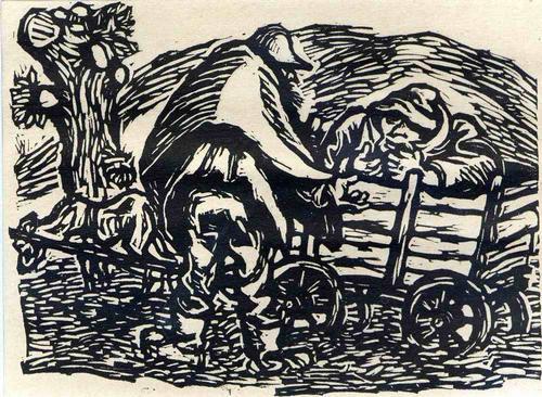 Ernst Barlach - Der HUNDERKARREN - 1922 - OriginalHolzschnitt aus der Holzschnittfolge Der FINDLING (Unter PP) kopen? Bied vanaf 65!
