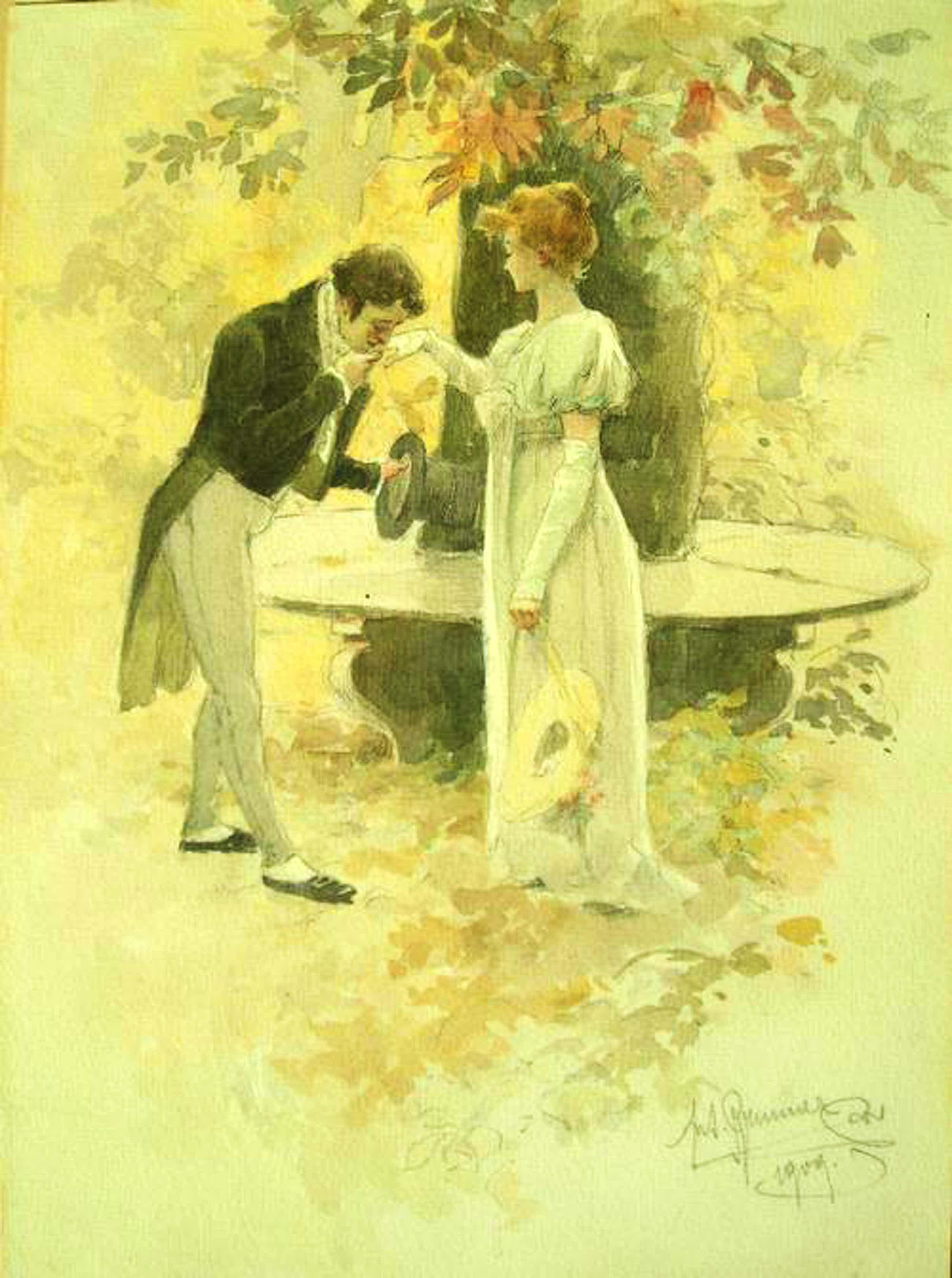 Antonin Brunner - Der Kavalier und seine Angebetete, Aquarell von 1909 kopen? Bied vanaf 580!