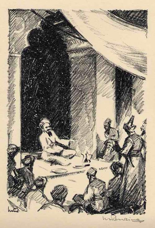 Walther Albert Renzing - Der MÄRCHENERZÄHLER aus dem MORGENLAND - Handsignierte OriginalLithographie zu Arnolds TALIB - 1925 kopen? Bied vanaf 45!