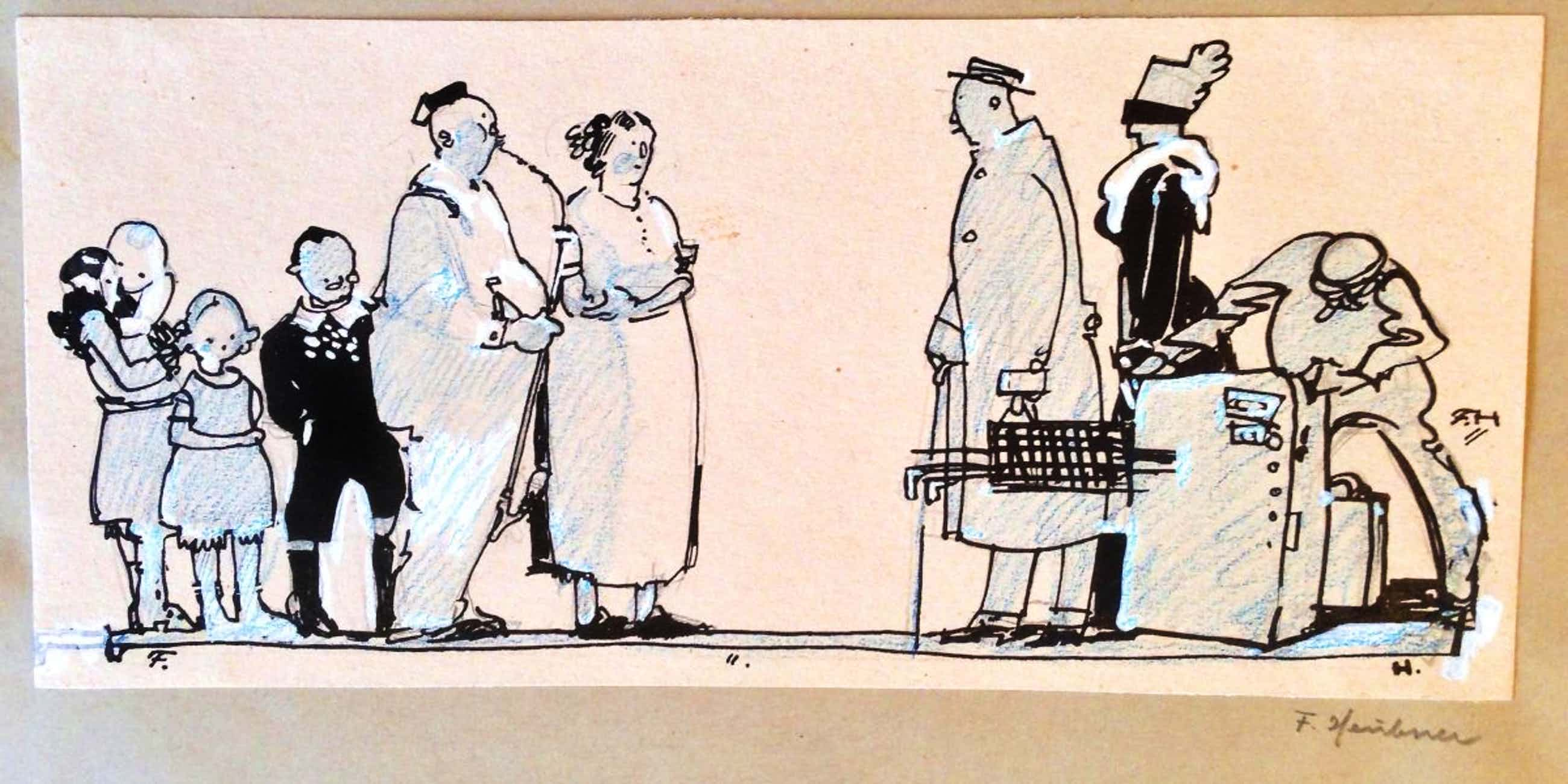 Fritz Heubner - Der willkommene Besuch, Karikatur kopen? Bied vanaf 380!