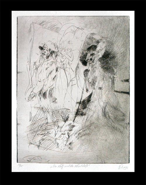 Heinrich Schott - Der Wolf und der Windstoß. Radierung, 1990. kopen? Bied vanaf 59!