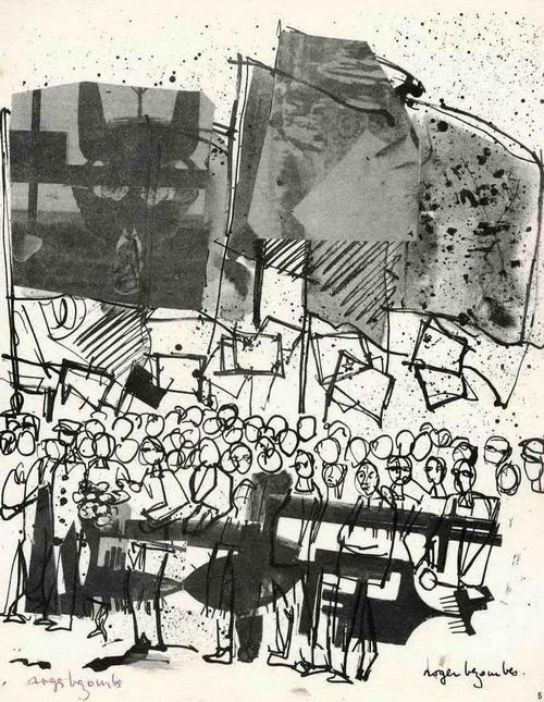 Roger Bezombes - Des VOLKES WILLE auf der STRASSE 1965 - Handsignierte Druckgraphik auf ARCHES-Bütten (BAUHAUS) kopen? Bied vanaf 35!