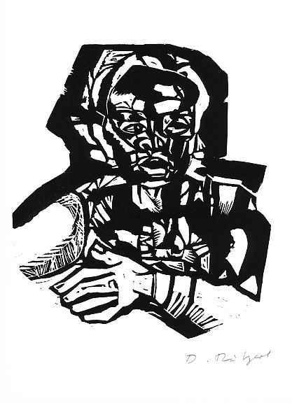 Diether Ritzert - DIE HAND - 1979 - Original-Linolschnitt des ROM-PreisTrägers (DÜSSELDORFER AKADEMIE) kopen? Bied vanaf 36!