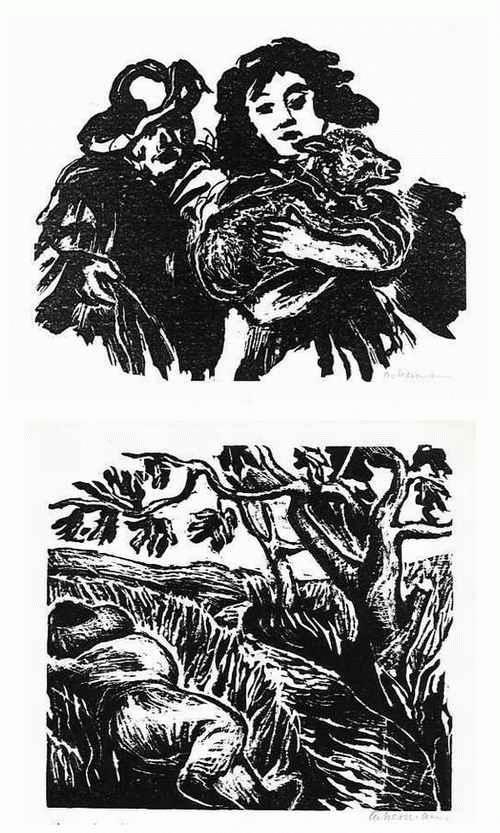 Helmut Ackermann - Die HOCHZEIT d. MÖNCHS + der Kleine MUCK - 2 handsignierte OriginalLinolschnitte d. SEEWALD-Schülers kopen? Bied vanaf 39!