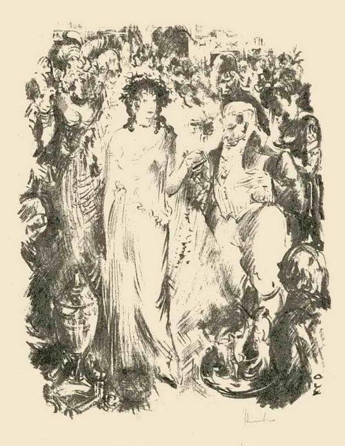 Fritz Heubner - Die SCHÖNE BRAUT - Handsignierte Originallithographie des SIMPLICISSIMUS/JUGEND-Illustratoren 1923 kopen? Bied vanaf 45!
