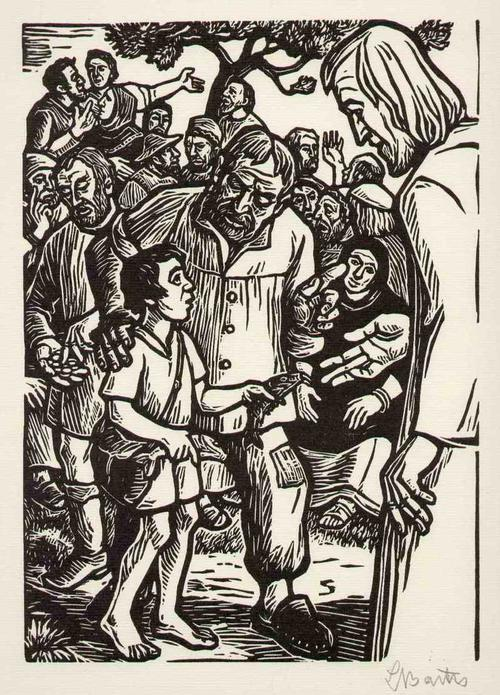 Ludwig Barth -Uchatzky - Die SPEISUNG der 5000 - Jesus & Das GELD - Handsignierter OriginalHolzschnitt des NS-Realisten aus K kopen? Bied vanaf 75!