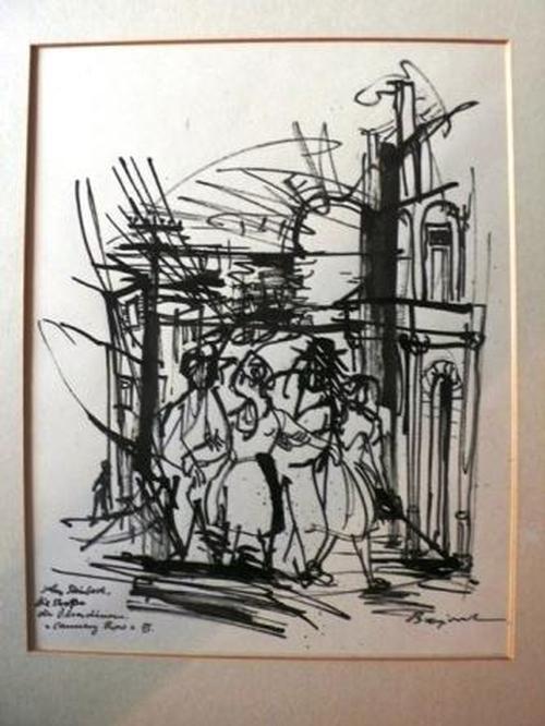 Archibald Bajorat - Die Straße der Ölsardinen - Cannery Row III zu Jon Steinbeck - original Tuschezeichnung - ca.1965 kopen? Bied vanaf 380!