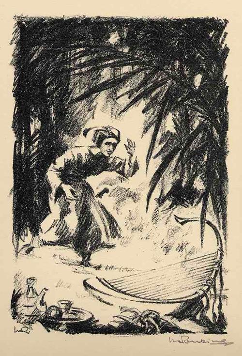 Walther Albert Renzing - Die WUNDERHAFTE WUNDERHARFE - Handsignierte OriginalLithographie zu MORGENLÄNDISCHEM REIGEN - 1925 kopen? Bied vanaf 45!