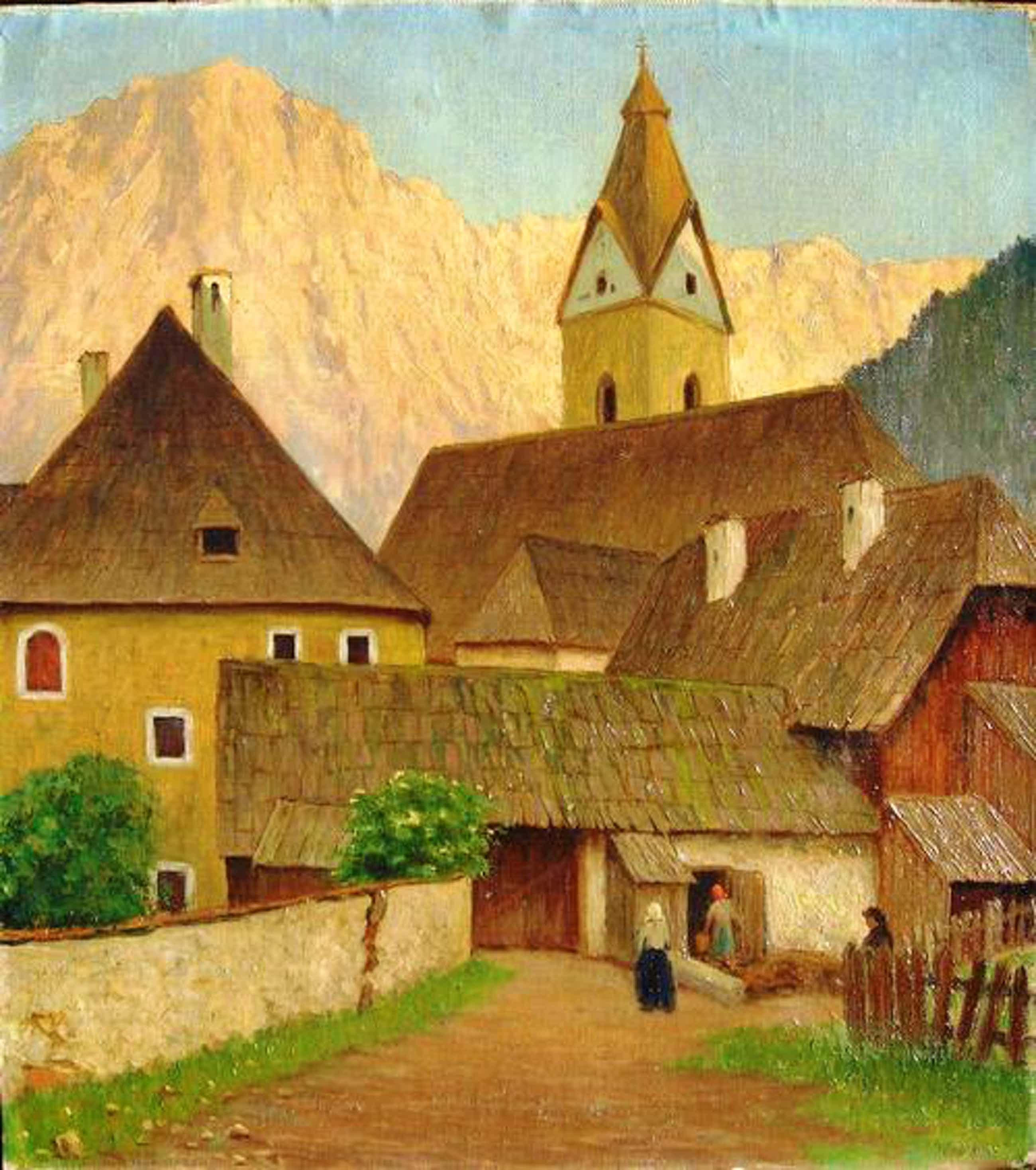 Rudolf Türk - Dorf im Gebirge, davor drei Personen, Ölgemälde kopen? Bied vanaf 680!