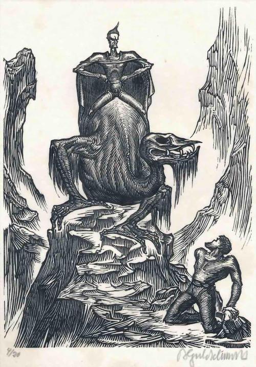 Bruno Goldschmitt - DRACHENREITER - Handsignierter OriginalHolzschnitt d.NÜRBERGers 1922 - eines v.20 Exemplaren kopen? Bied vanaf 95!