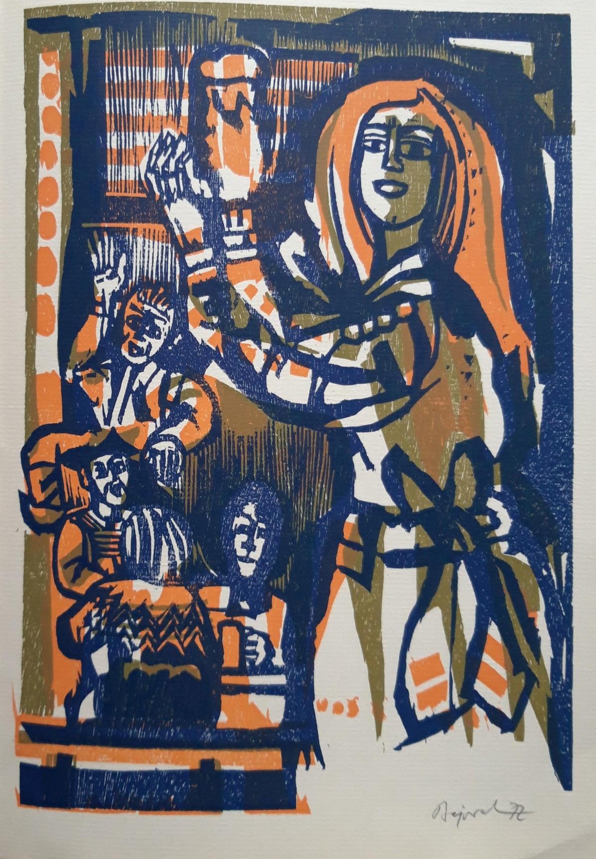 Archibald Bajorat - Drei-Farben-Holzschnitt von 1972 kopen? Bied vanaf 55!