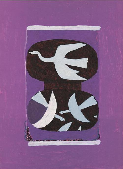 Georges Braque - Drei Vögel auf violettem Grund, 1964 kopen? Bied vanaf 80!