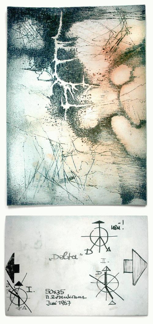 Rupert Rosenkranz - Druckstock Delta, Informelle Komposition, signiert 1967. kopen? Bied vanaf 90!