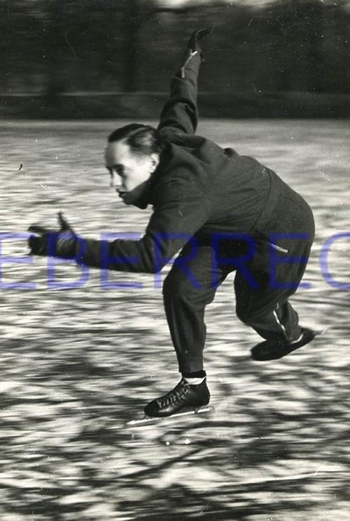 Friedrich Seidenstucker - Dynamisches Portrait des EISSCHNELLLÄUFERs Hans JÜLGE 1942 - OriginalFotographie VINTAGE kopen? Bied vanaf 900!