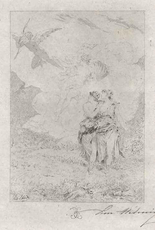 Edmond Hèdouin - EauForte originale signée - LIEBESBOTE - Handsignierte OriginalRadierung d.NANTEUIL-Schülers kopen? Bied vanaf 39!