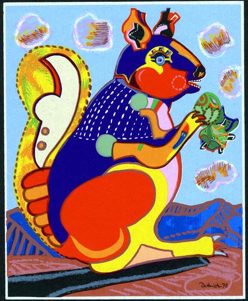 Simon Dittrich - Eichhörnchen, Siebdruck,1973 kopen? Bied vanaf 60!