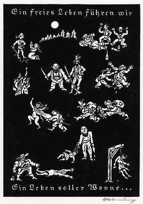 Alfred Zacharias - Ein FREIES LEBEN FÜHREN WIR Ein LEBEN voller WONNE - signierter OriginalHolzschnitt 1976 Die RÄUBER kopen? Bied vanaf 27!