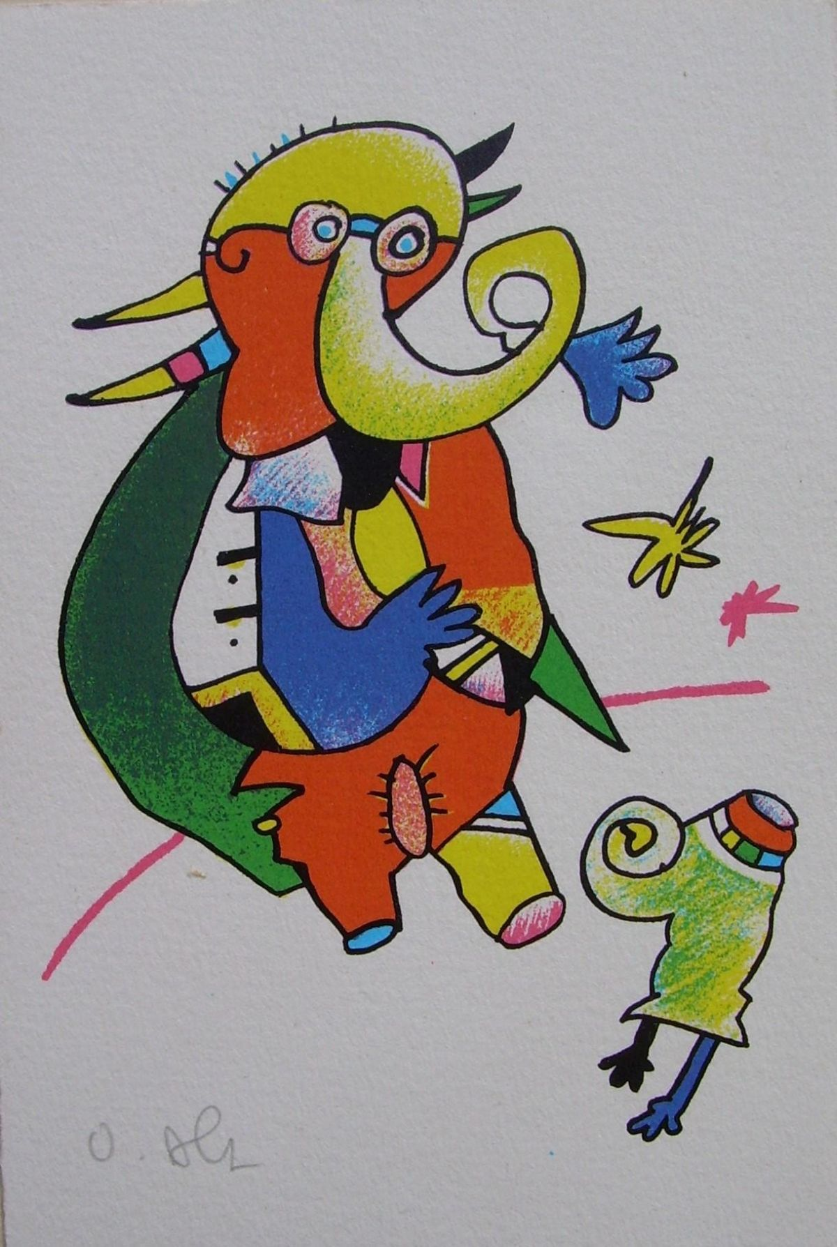 Otmar Alt - Ein großer und ein kleiner Elefant, Farbserigraphie kopen? Bied vanaf 80!