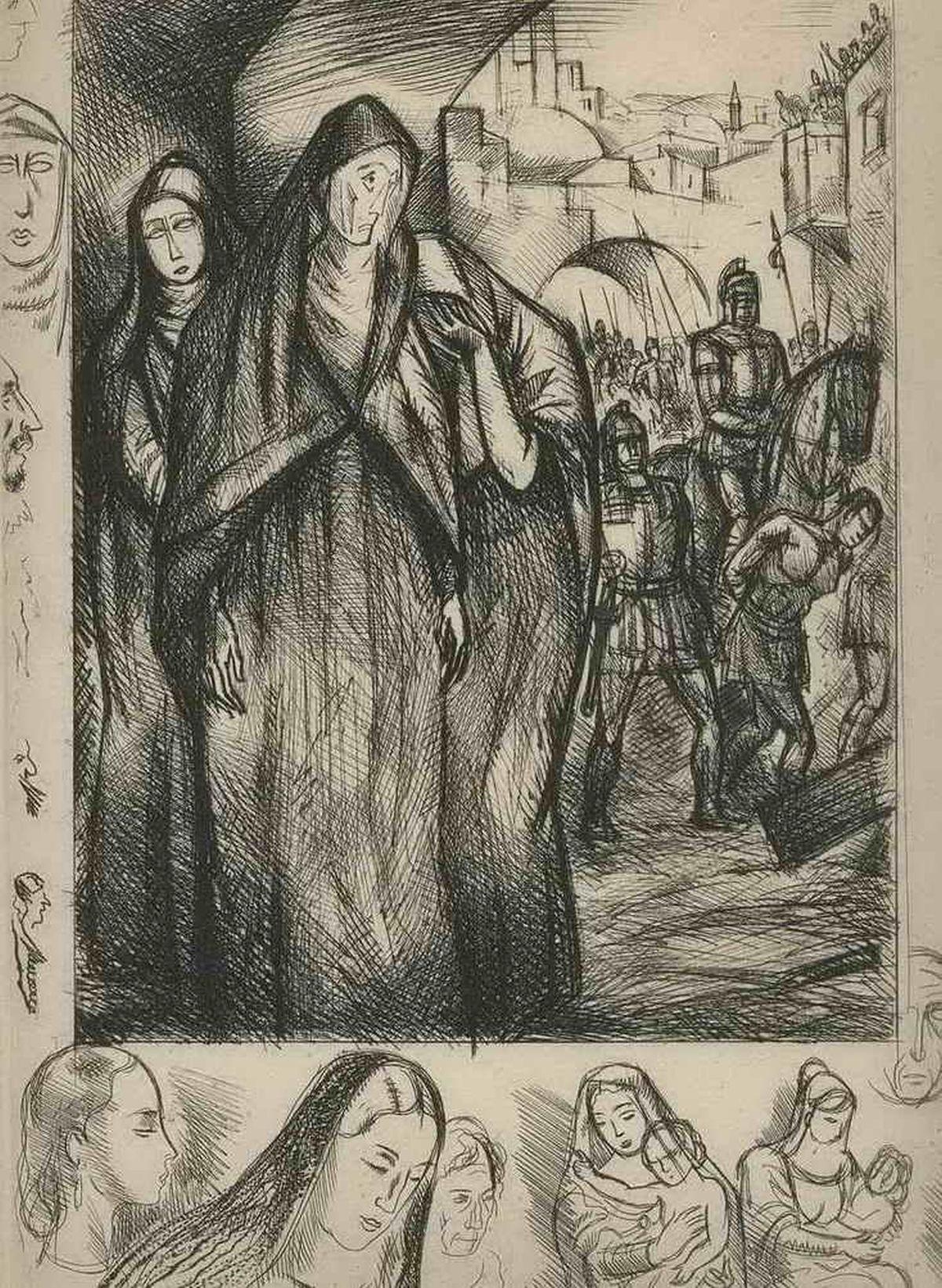 Andrè Collot - Eindrucksvolles Kreuzweg Portrait des JESUS von NAZARETH - OriginalRadierung mit REMARQUE - 1948 kopen? Bied vanaf 36!