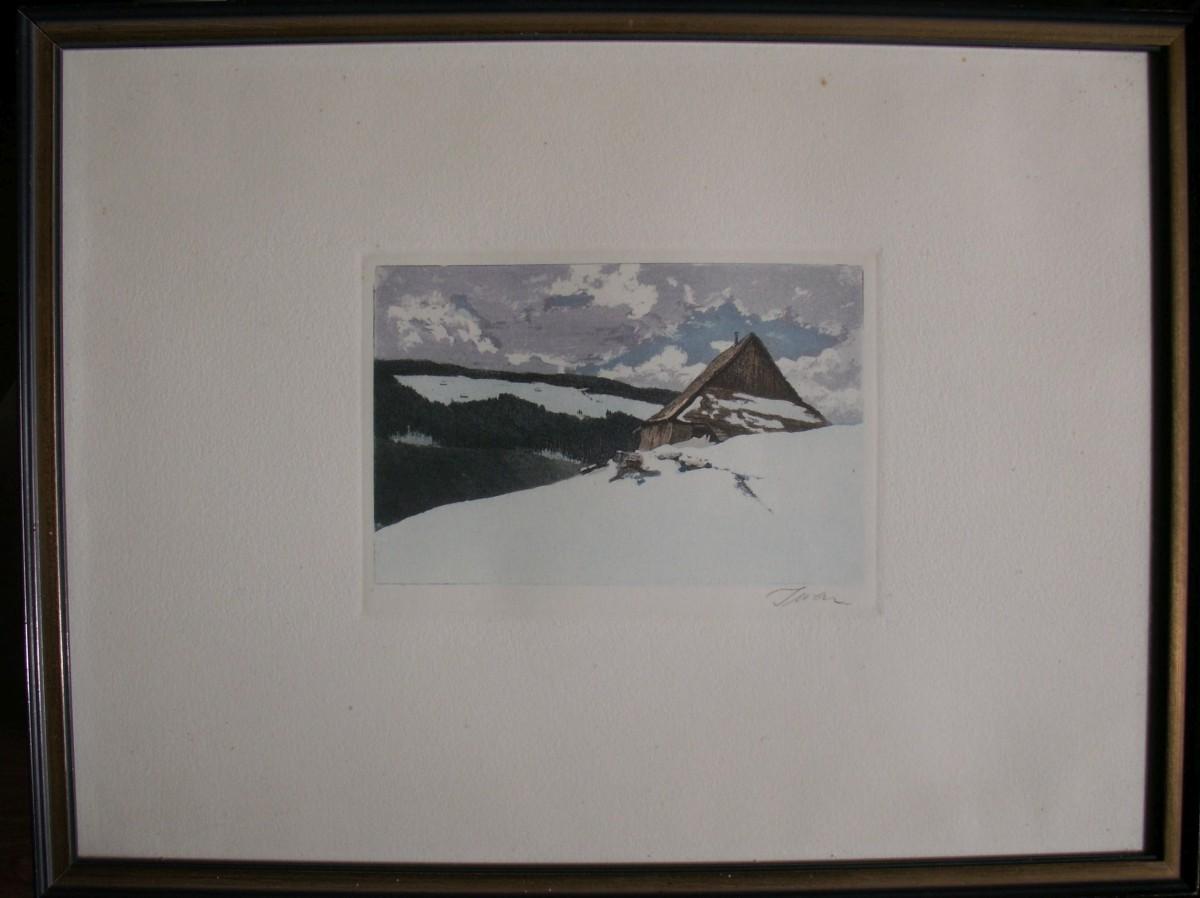 Friedrich Iwan - Einsame Baude im winterlichen Riesengebirge, Farbradierung, handsigniert kopen? Bied vanaf 130!