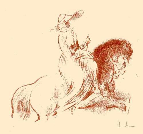 Fritz Heubner - ELEGANTE REITERIN - Handsignierte Originallithographie des SIMPLICISSIMUS-Illustratoren 1923 kopen? Bied vanaf 38!